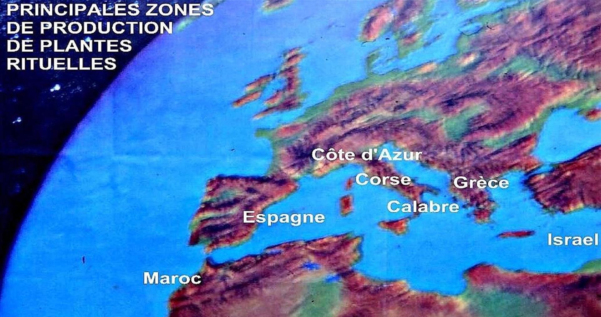 Carte des cultures rituelles de cedrat juif en Mediterrannee
